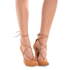 Charlotte Russe Shoes - Black Lace-Up Pumps