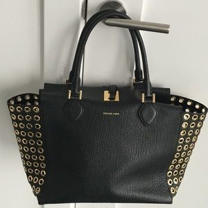 Michael Kors Handbags - Michael Kors Collection Black Miranda Tote Grommet