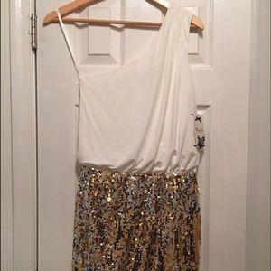 One shoulder white/gold sequin mini dress
