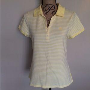 IZOD yellow & white stripe knit polo