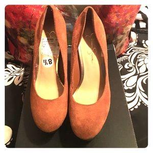 Tan Jessica Simpson platform heels
