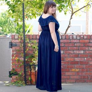 Navy Crochet Ruffle Detail Maxi Dress