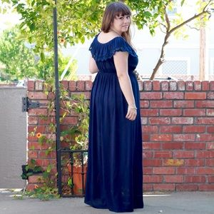 Dresses - Navy Crochet Ruffle Detail Maxi Dress