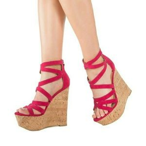 Spring!  Pink Cutout Cork Wedge Sandals SIZE 7