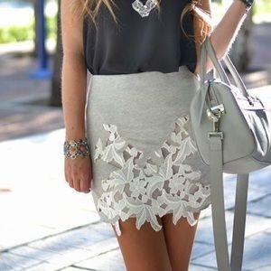 {zara} skirt with lace embroidered front