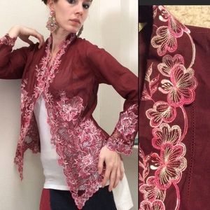 AngEng Maroon Red Sheer Floral Lace Boho Cardigan