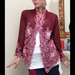 Anthropologie Sweaters - AngEng Maroon Red Sheer Floral Lace Boho Cardigan
