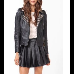 Faux Leather Studded Motorcycle Jacket