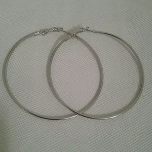 Big Silver Hoop Earrings with Back Closure