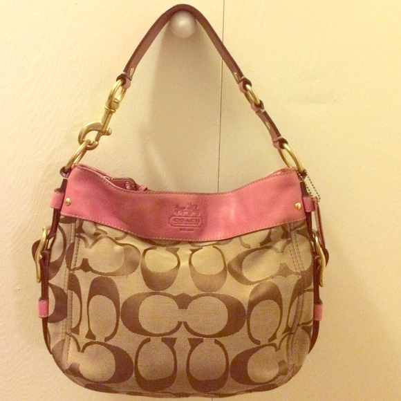 6c8b1ddfae Coach Bags | Pink Leather And Signature Canvas Purse | Poshmark