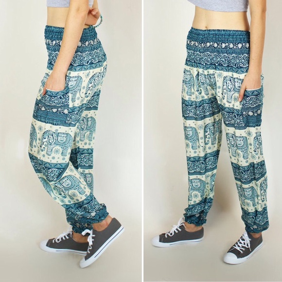 The Elephant Pants Teal and White