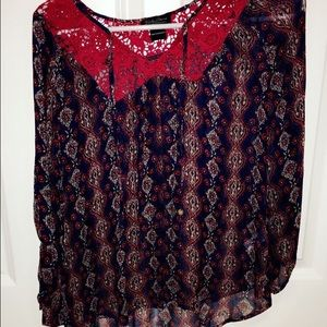 Lucky Brand sheer blouse. Red and navy with lace