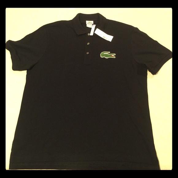 56e2ad813468b LACOSTE Black Polo Shirt with Large 🐊 Logo XL