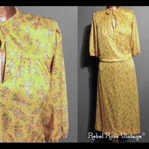 Vintage 1970's Marigold Floral Print Dress