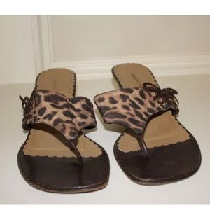 Isabella Fiore Shoes - Isabella Fiore Animal Print Thong Sandals