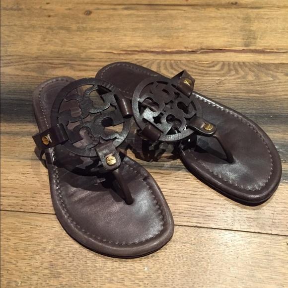e3c344e435a7 Chocolate brown Tory burch Miller sandal. M 5746fc6c291a35ff40001611