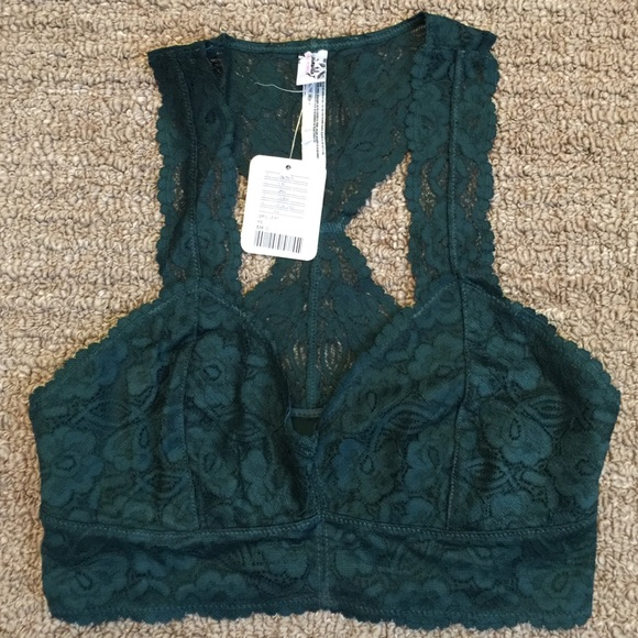 cb93edee5e Free People Other - NWT FP galloon dark green lace bralette XS