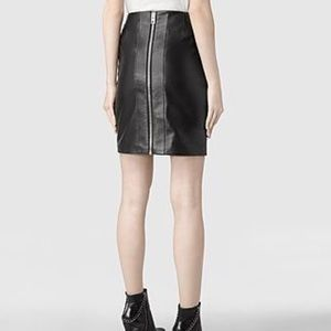 ALL SAINTS Black real Leather Skirt