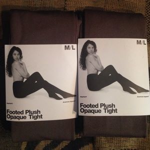 American Apparel Accessories - American Apparel Footed Plush Opaque Tights 2 Pair