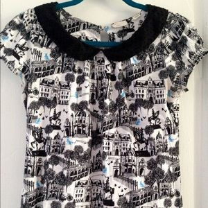 Anthropologie Tops - Anthropologie Novelty Collar Tee Blue Cat EUC