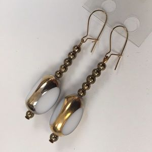 Jewelry - Gold and White Vintage Glass Drop Earrings