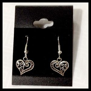 Tibetan silver heart earrings