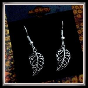 Tibetan silver leaf earrings