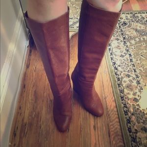 """Shoes - """"Mazzie"""" tan leather boot with wedge heel"""