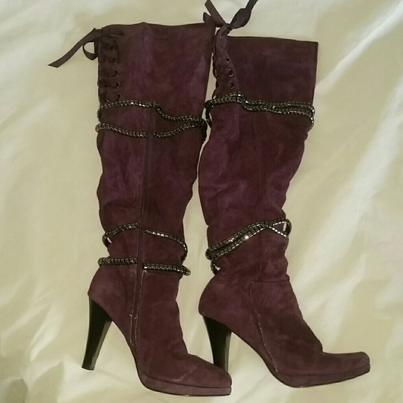 Victoria's Secret Shoes - VS Corset Purple Suede Tall Over The Knee Boots