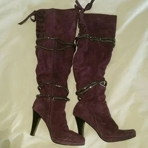 VS Corset Purple Suede Tall Over The Knee Boots