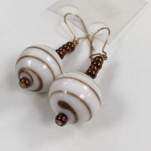 Jewelry - Vintage White with Bronze Glass Bead Earrings