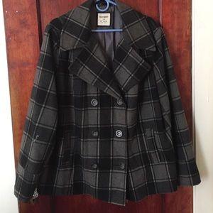 Old Navy Wool Mix Plaid Coat