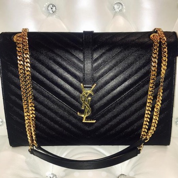 348e935b37ce YSL BLACK LEATHER CLASSIC MONOGRAM LARGE Bag. M 57474151bcd4a7650401b133