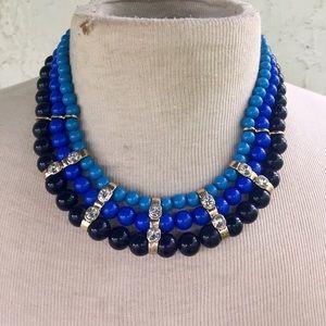 Blue statement necklace rhinestones