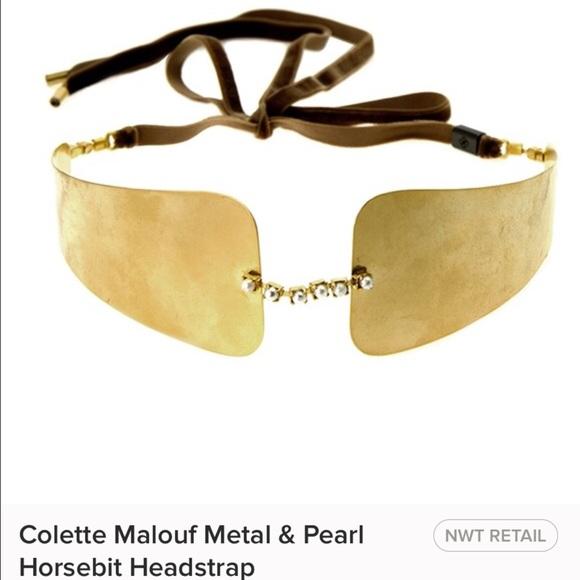 🌴Colette Malouf Metal & Pearls Horsebit Headstrap