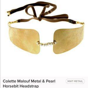 Colette Malouf Metal & Pearls Horsebit Headstrap
