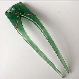 Colette Malouf Architectural Acrylic Jade HairPin