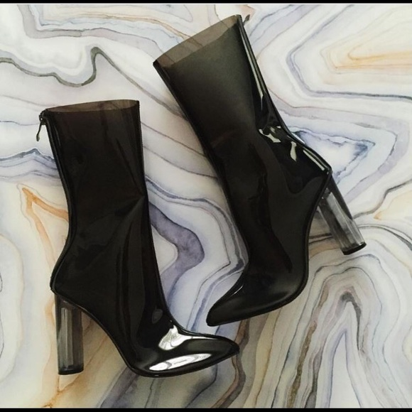 Black Perspex Pointed Ankle Boots