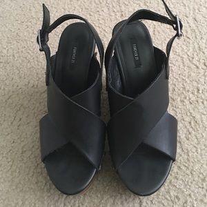 Black formal wedges