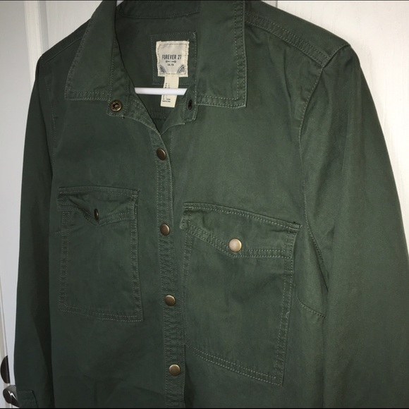 27% off Forever 21 Tops - NWOT Army green utility button down ...