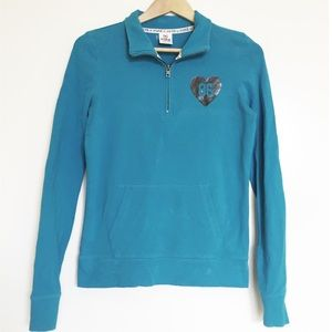 VS Pink Turquoise Half Zip Sweater