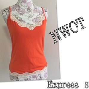 Express lace trim cami with built in bra S