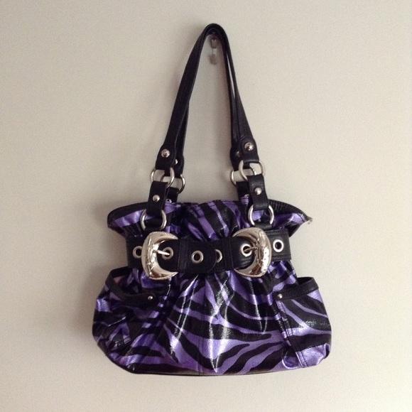 Kathy Van Zeeland Handbags - Purple and black zebra print shoulder bag baea2a35fd205