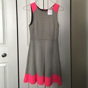 Everly black, white and neon pink dress NWT