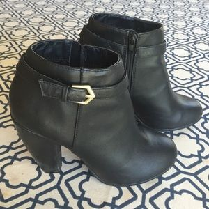 Gabriella Rocha Shoes - Black Heeled Ankle Booties with Gold Buckle