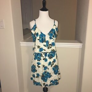 Summer dress with teal flowers. Size Med