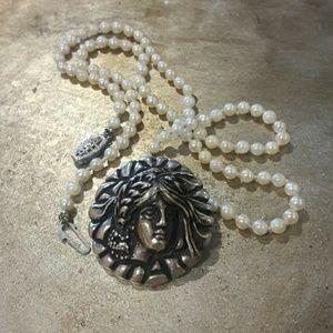 Vintage Jewelry - Vintage Art Nouveau  Sterling Maiden Pendant