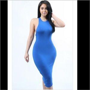 Dresses & Skirts - Blue Racer Back Bodycon Midi Dress