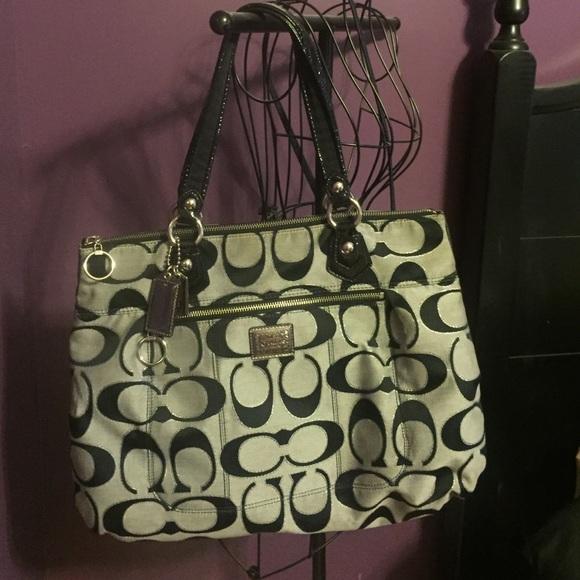 coach bags poppy purse black with silver sparkle poshmark rh poshmark com