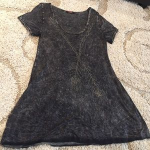 Dresses & Skirts - Grey dress with feather embellishment